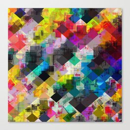 psychedelic square pixel pattern abstract background in red pink blue yellow green Canvas Print