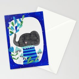 elephant with raindrops in blue watercolor illustration Stationery Cards
