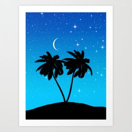 Palm Tree Silhouette Against Evening Blue with Stars Art Print