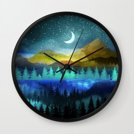 Silent Forest Night Wall Clock