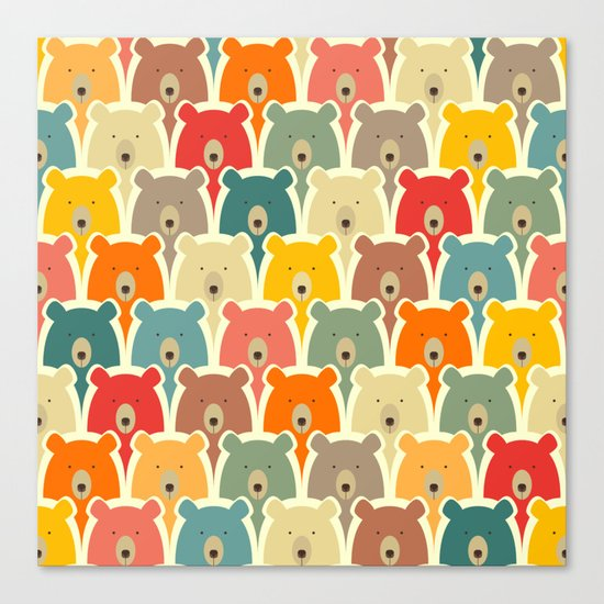 Bears cartoon pattern Canvas Print