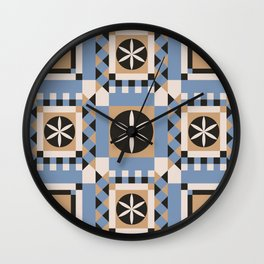 Geometric seamless ornament with a mosaic pattern in the Scandinavian style of Hugge blue and white color. Wall Clock