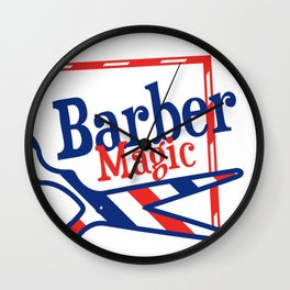 Barber Magic - red, white, blue Wall Clock