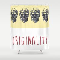 skulls Shower Curtains featuring Skulls  by SofRusso