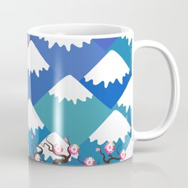 Spring Nature background with Japanese cherry blossoms, sakura pink flowers landscape. blue mountain Coffee Mug