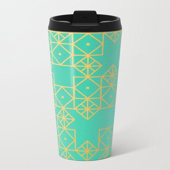 Geometric Turquoise Metal Travel Mug