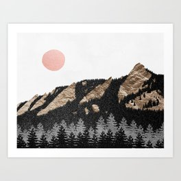 Flatirons Boulder Colorado - Climbing Gold Mountains Art Print