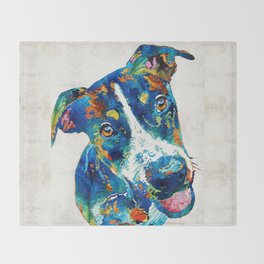 Colorful Dog Art - Happy Go Lucky - By Sharon Cummings Throw Blanket