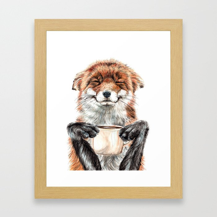 """ Morning fox "" Red fox with her morning coffee Gerahmter Kunstdruck"