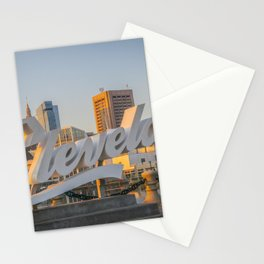 Cleveland Ohio City Skyline Script Sign Browns Stationery Cards