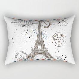 Art hand drawn design with Eifel tower. Old postcard style Rectangular Pillow