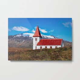 Icelandic Church with Volcano Metal Print