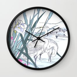 White Herons And Blue Iris Flowers - Vintage Japanese Woodblock Print Art By Kono Bairei Wall Clock