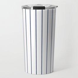 Classic Blue Baseball Stripe Lines On White Travel Mug