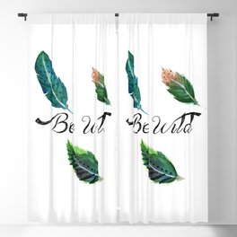 Watercolor Tribal Feathers Blackout Curtain