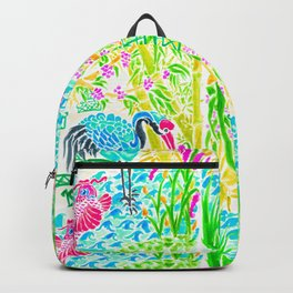 Asian Bamboo Garden in Sunset Watercolor Backpack