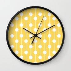 Yellow Lined Polka Dot Wall Clock