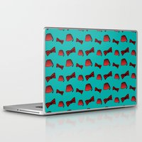 fez Laptop & iPad Skins featuring Red Fez & Bow Tie (on teal green) by Bohemian Bear by Kristi Duggins