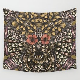 Tiger and flowers Wall Tapestry
