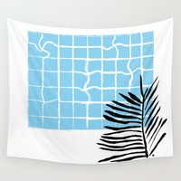 swimming Wall Tapestries featuring Swimming pool by Emmanuelle Ly