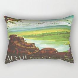 Earth Retro Space Poster Rectangular Pillow