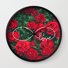 Red Roses Photography & Infinity Love Sign Wall Clock