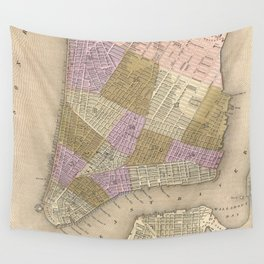 Vintage Map of New York City (1839) Wall Tapestry