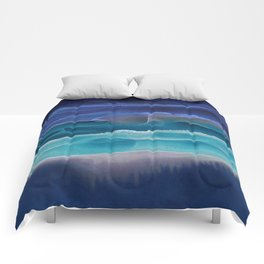 Alcohol Ink Seascape 3 - Sea at Night Comforters