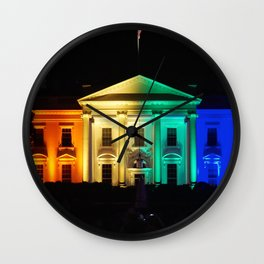The White House in Rainbow Colors Wall Clock