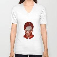 moulin rouge V-neck T-shirts featuring ROUGE by Jeremy Parigi