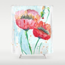 Poppy flowers no 4 Summer illustration watercolor painting Shower Curtain