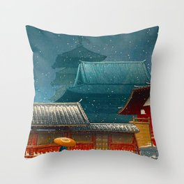 Vintage Japanese Woodblock Print Japanese Red Shinto Shrine Pagoda Winter Snow Throw Pillow