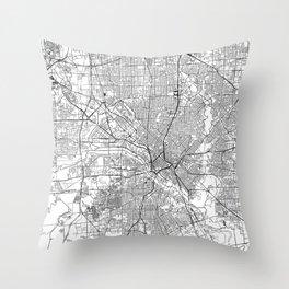 Dallas White Map Throw Pillow