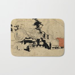 Vintage Steam Train on Postage Stamp Bath Mat