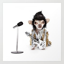Elvis Chihuahua Art Print