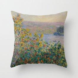 Monet, Flower Beds at Vétheuil, 1881 Throw Pillow