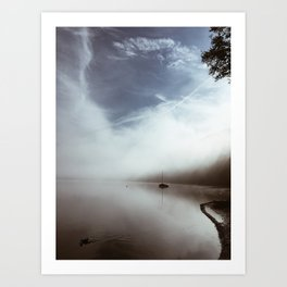 foggy lake Art Print