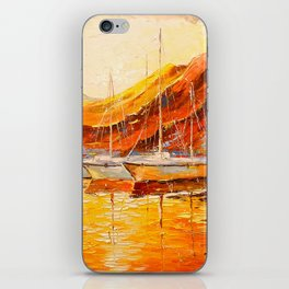 Golden sunset at the mountains iPhone Skin