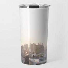 Peaceful Coffee Drinking Morning in Urban City Travel Mug