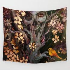 Orange Bird Wall Tapestry