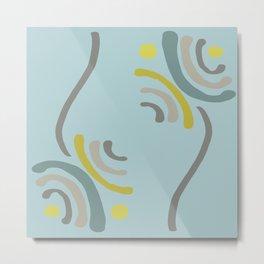 Simple Flowers in Blue Teal Yellow & Gray Metal Print