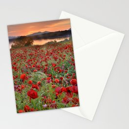 Poppies at the lake at sunset Stationery Cards