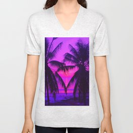 Pink Palm Trees by the Indian Ocean Unisex V-Neck