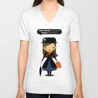 mary poppins V-neck T-shirts featuring Mary Poppins by oyoyoi
