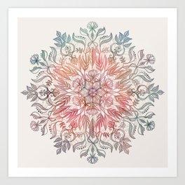 Autumn Spice Mandala in Coral, Cream and Rose Art Print