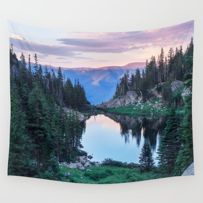 Hikers Bliss Perfect Scenic Nature View \ Mountain Lake Sunset Beautiful Backpacking Landscape Photo Wandbehang