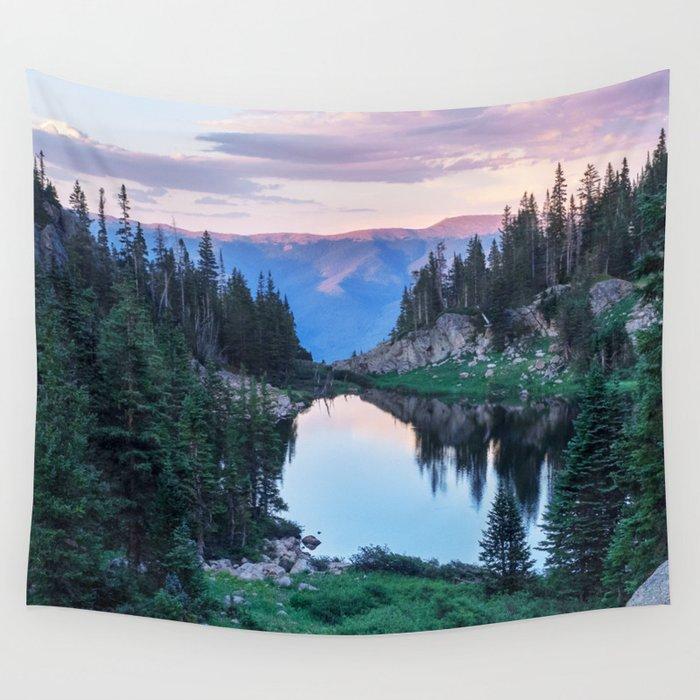 Hikers Bliss Perfect Scenic Nature View \ Mountain Lake Sunset Beautiful Backpacking Landscape Photo Wandbehang