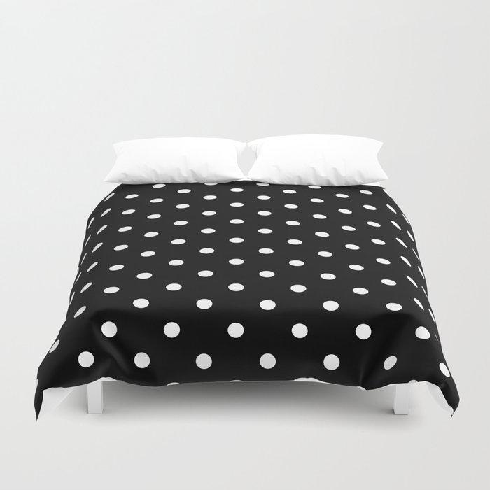 black white polka dots duvet cover by vintageappeal623 society6. Black Bedroom Furniture Sets. Home Design Ideas