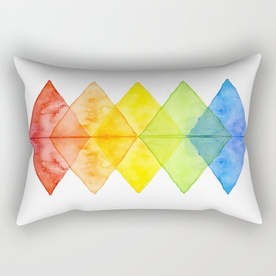 Geometric Watercolor Shapes Triangles Pattern Rectangular Pillow