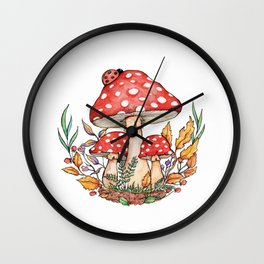 Watercolor Mushrooms Wall Clock
